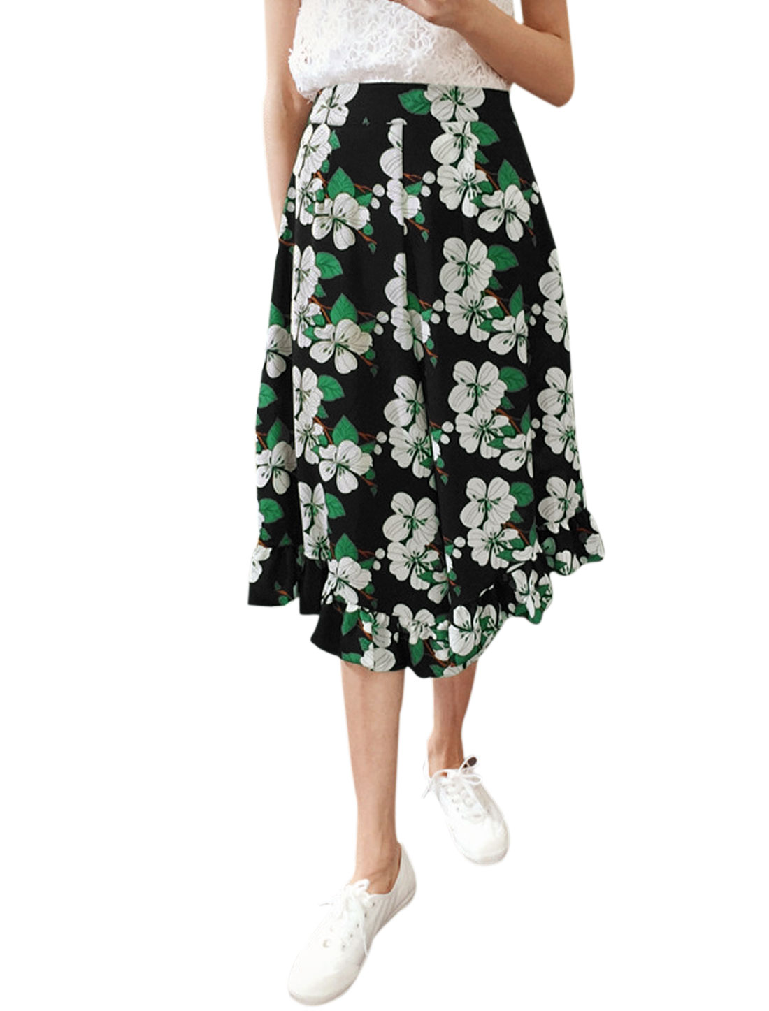 Women Floral Prints Flouncing Cuffs Capris Wide Leg Pants Green Black XS