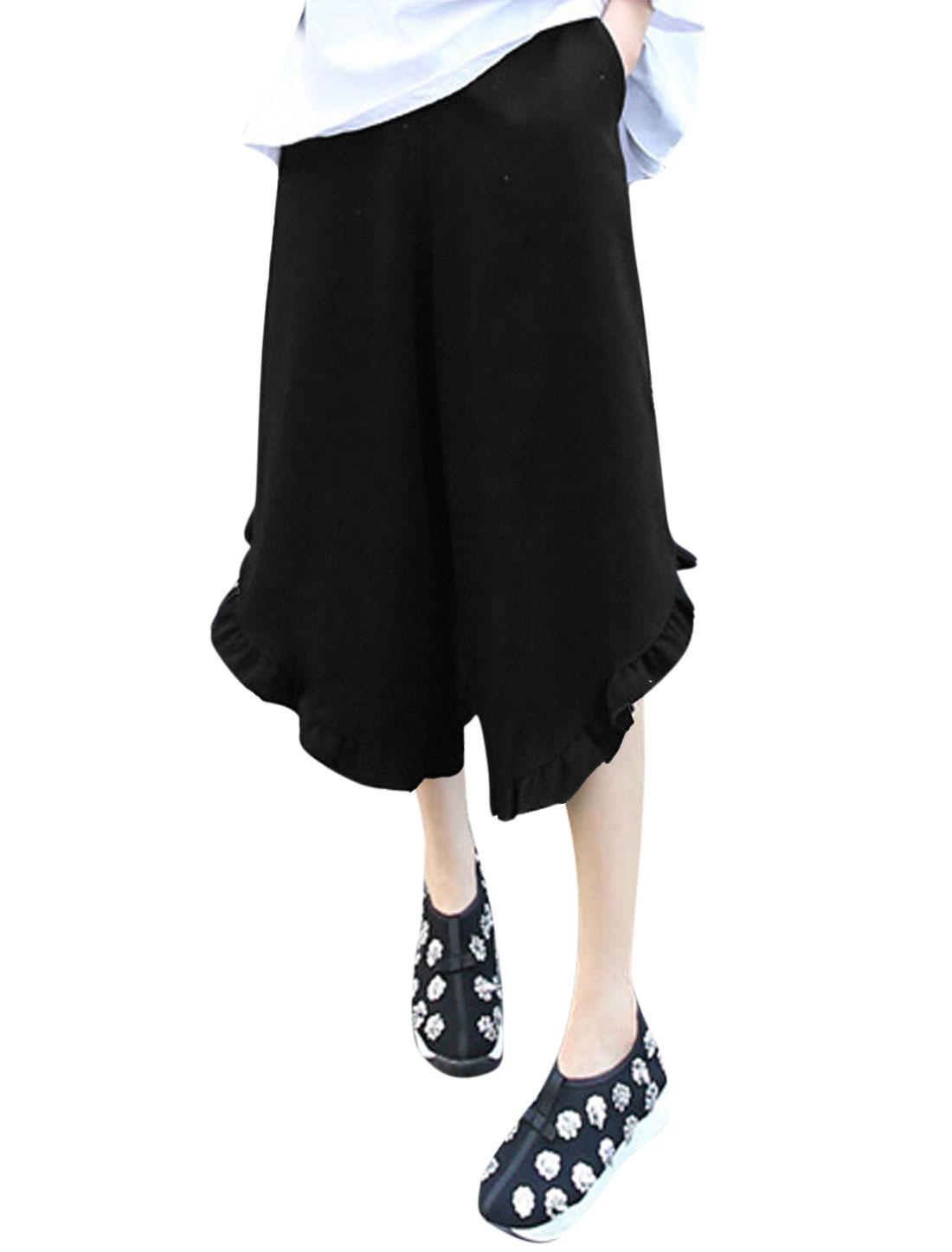 Ladies Elastic Waist Flouncing Cuffs Mid Rise Wide Leg Pants Black S