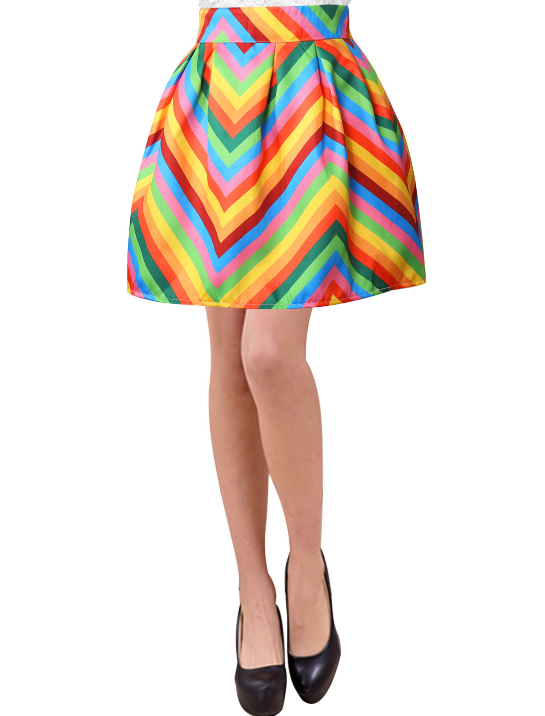 Women Zig-Zag Elastic Back High Waisted Pleated A Line Skirts Multicolor M