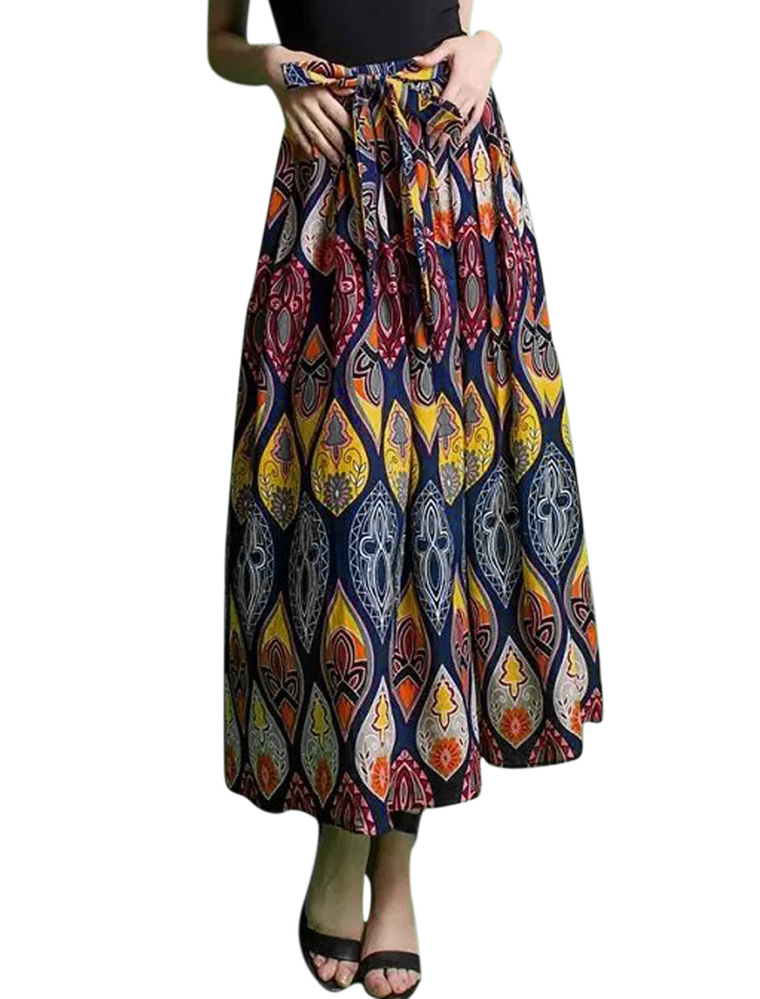 Woman Floral Prints Self Tie Waist String Partially Lined Skirt Dark Blue M