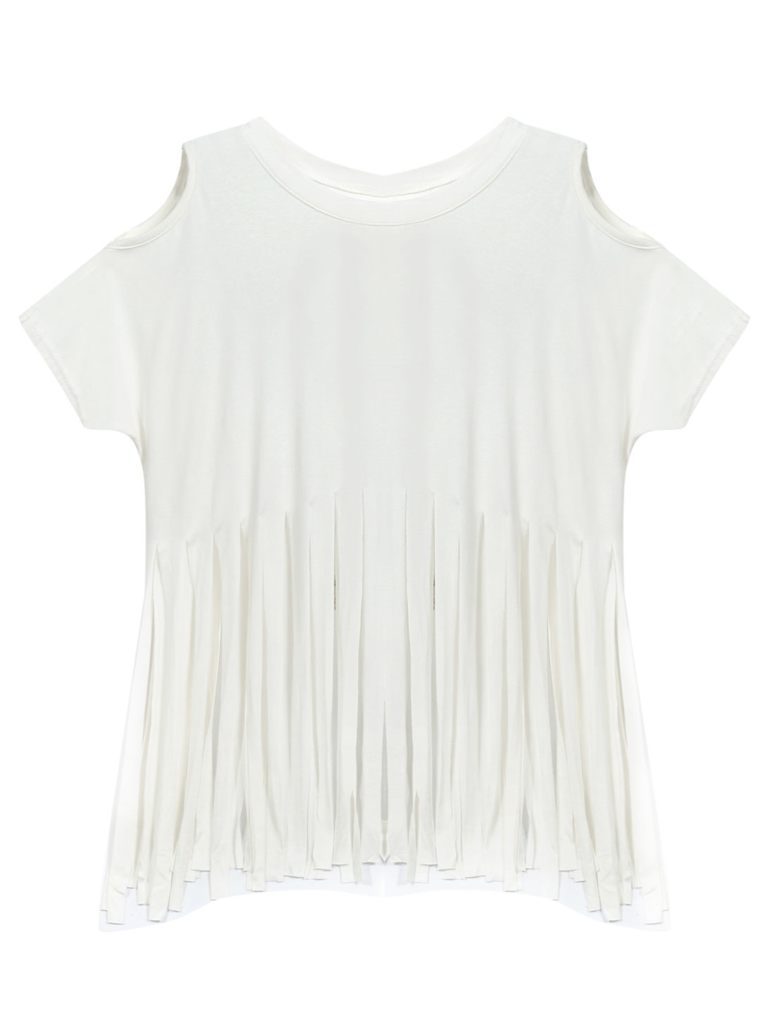 Woman Cut Out Shoulders Fringed Hem Round Neck Casual Top White XS