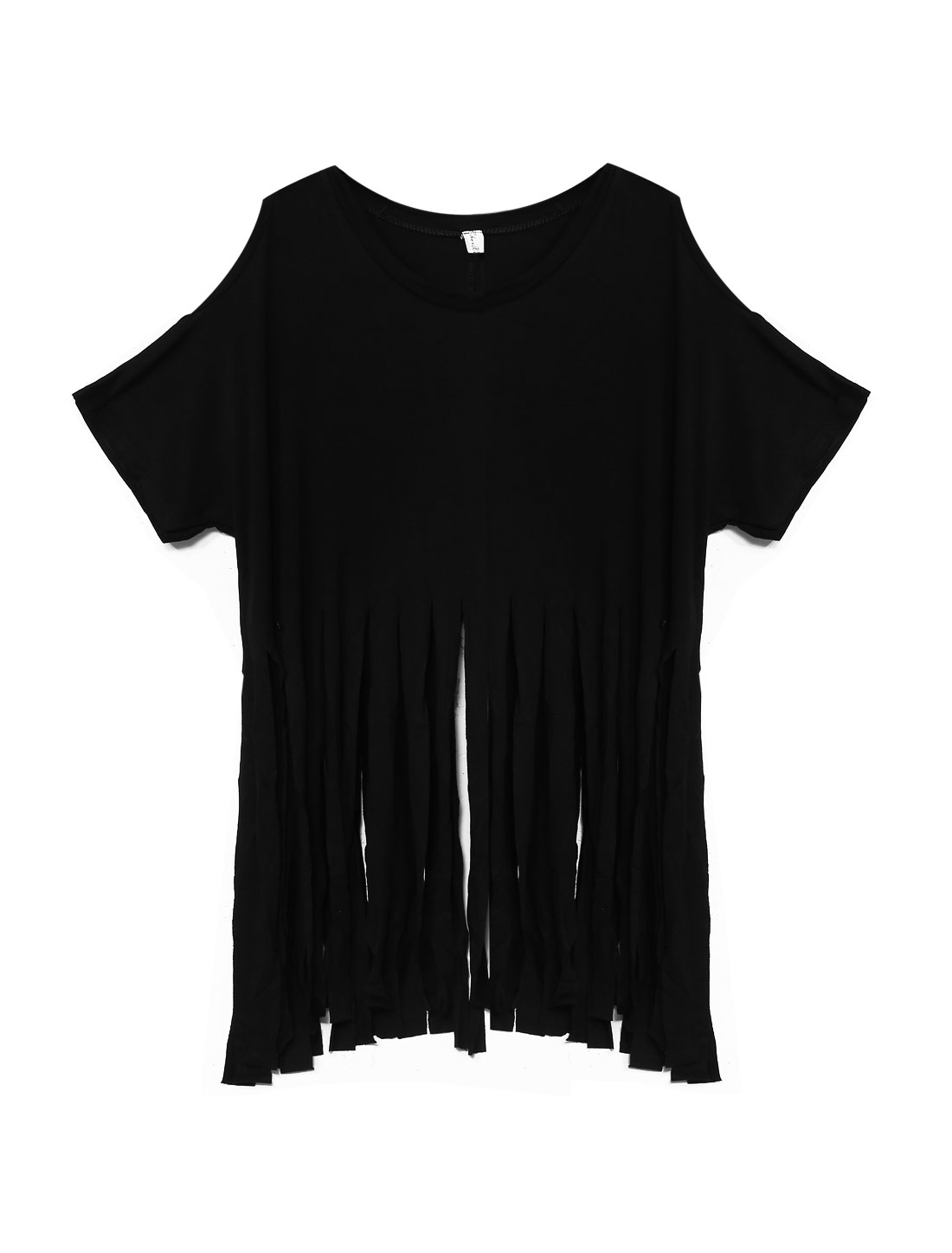 Woman Cold Shoulders Fringed Hem Short Sleeves Slipover Top Black XS