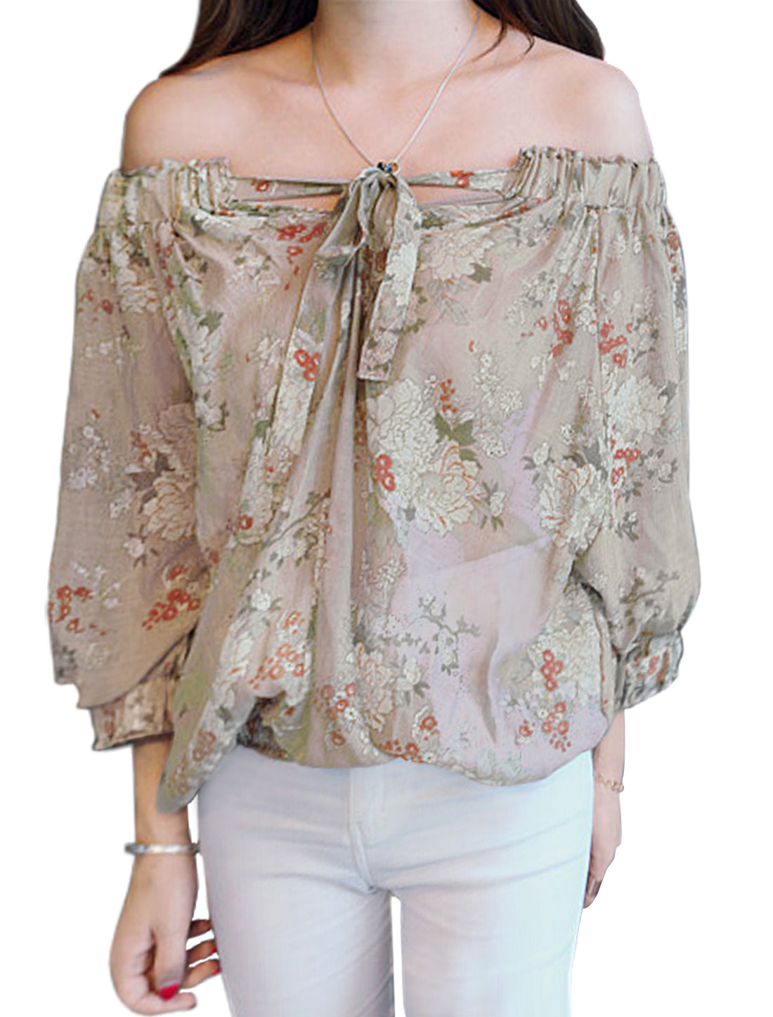 Women Off Shoulder Floral Prints 3/4 Sleeves Casual Tops Khaki XS