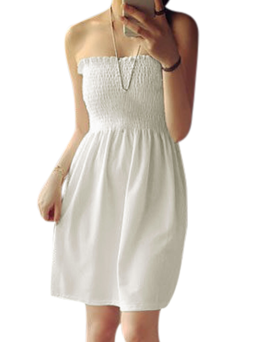 Women Smocking Bust Strapless Unlined A Line Dress White XS