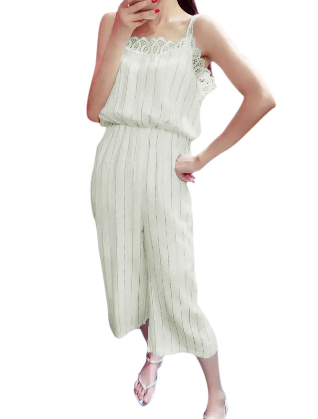 Women Vertical Stripes Crochet Design Wide Leg Loose Jumpsuit White S