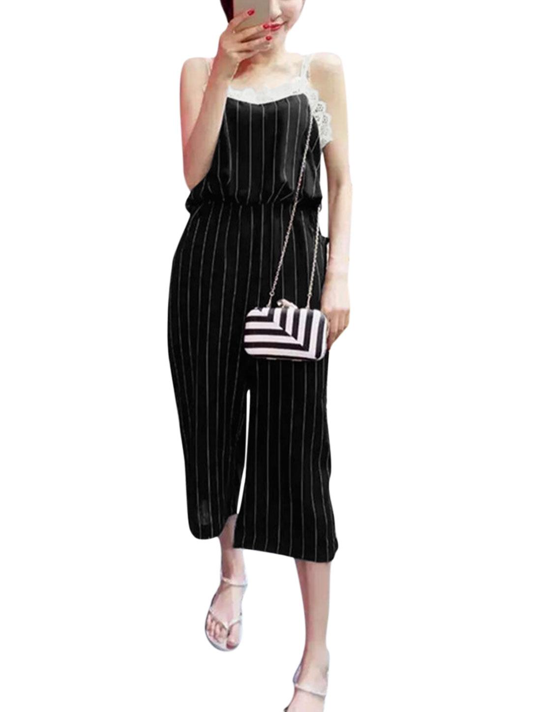 Women Vertical Stripes Crochet Design Elastic Waist Jumpsuit Black S