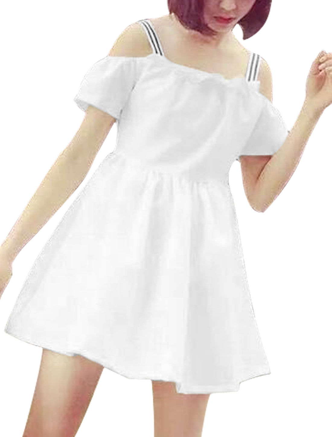 Ladies Short Sleeve Cut Out Shoulder Unlined Casual Dress White XS