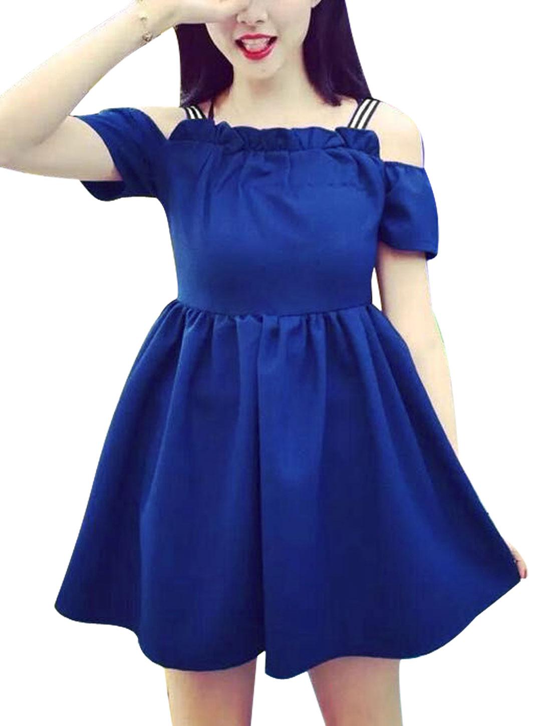 Women Cut Out Shoulder Unlined Leisure Dresses Royal Blue XS