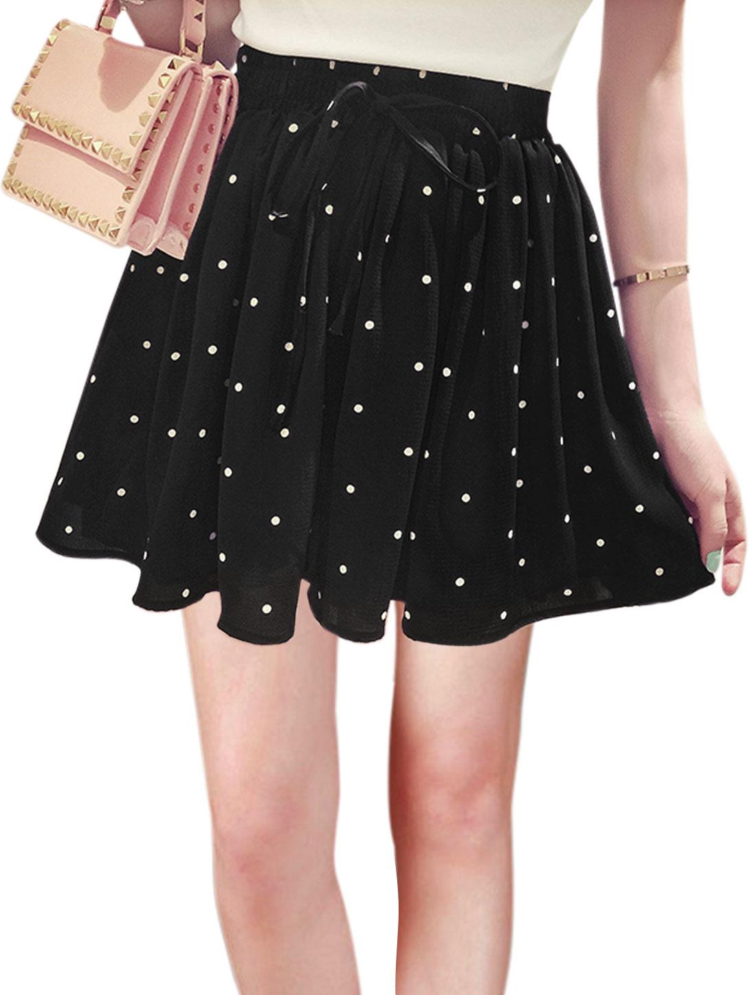 Women Mid Rise Elastic Waist Dots Mini Casual Skorts Black XS