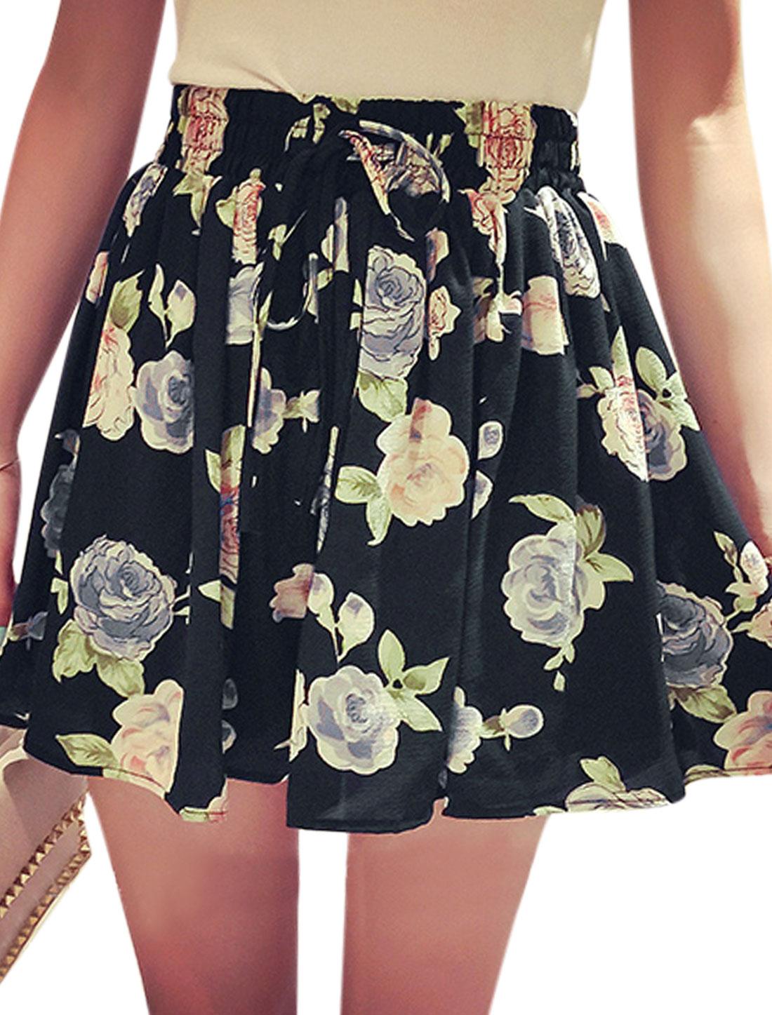 Lady Waist Self Tie Bowknot Decor Flower Prints Skorts Pink Black XS