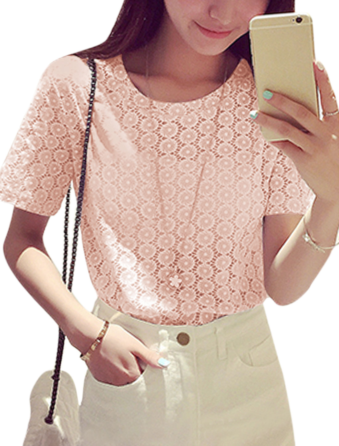 Ladies Short Sleeve Round Neck Casual T-Shirt Top Pale Pink XS