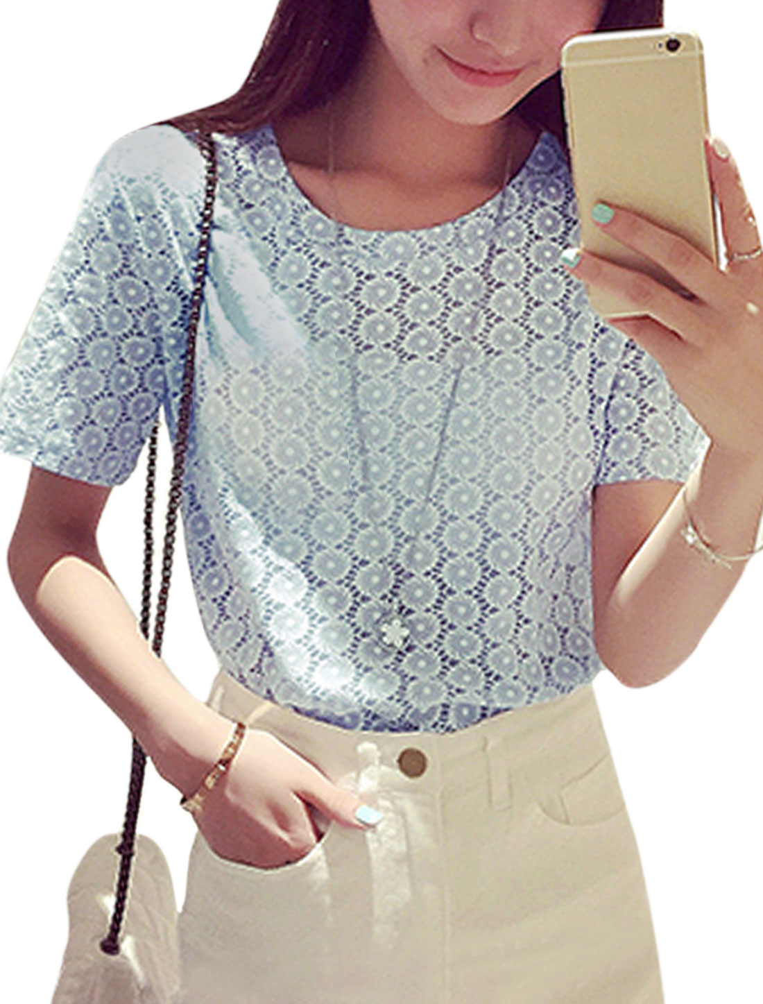 Women Short Sleeve Round Neck Casual T-Shirts Tops Sky Blue XS