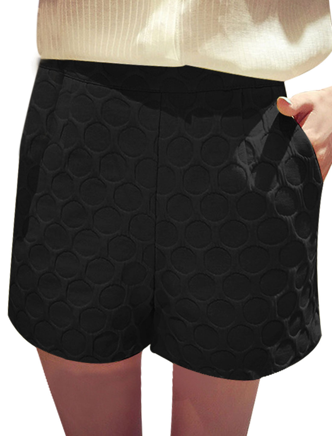 Women Hidden Zipper Back Textured High Waist Casual Shorts Black S