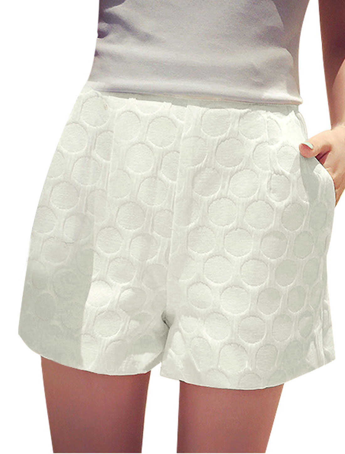 Ladies Textured Slant Pockets Front High Waist Shorts White S