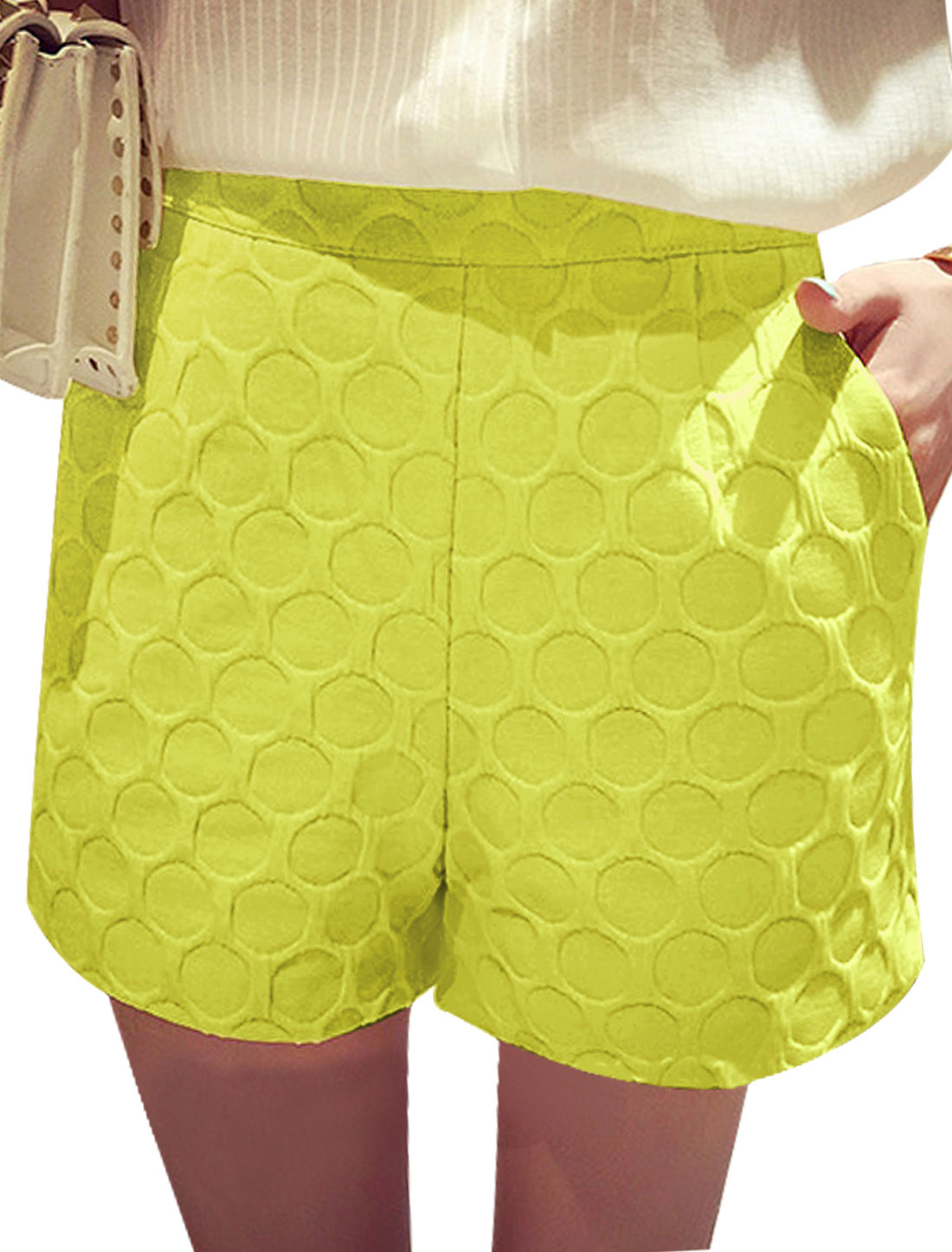 Lady Textured Two Slanted Pockets Hidden Zipper Back Casual Shorts Yellow S