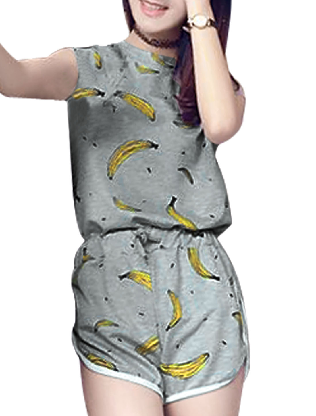 Ladies Banana Print Top w Drawstring Waist Shorts Sets Gray XS