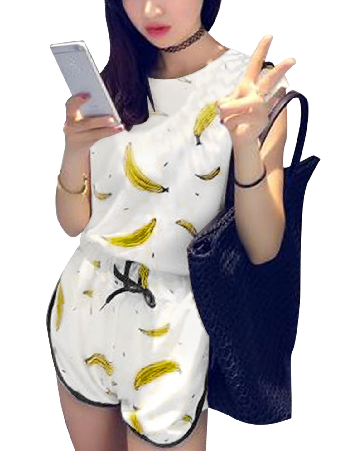 Women Sleeveless Tops w Banana Print Casual Short Shorts Sets White XS