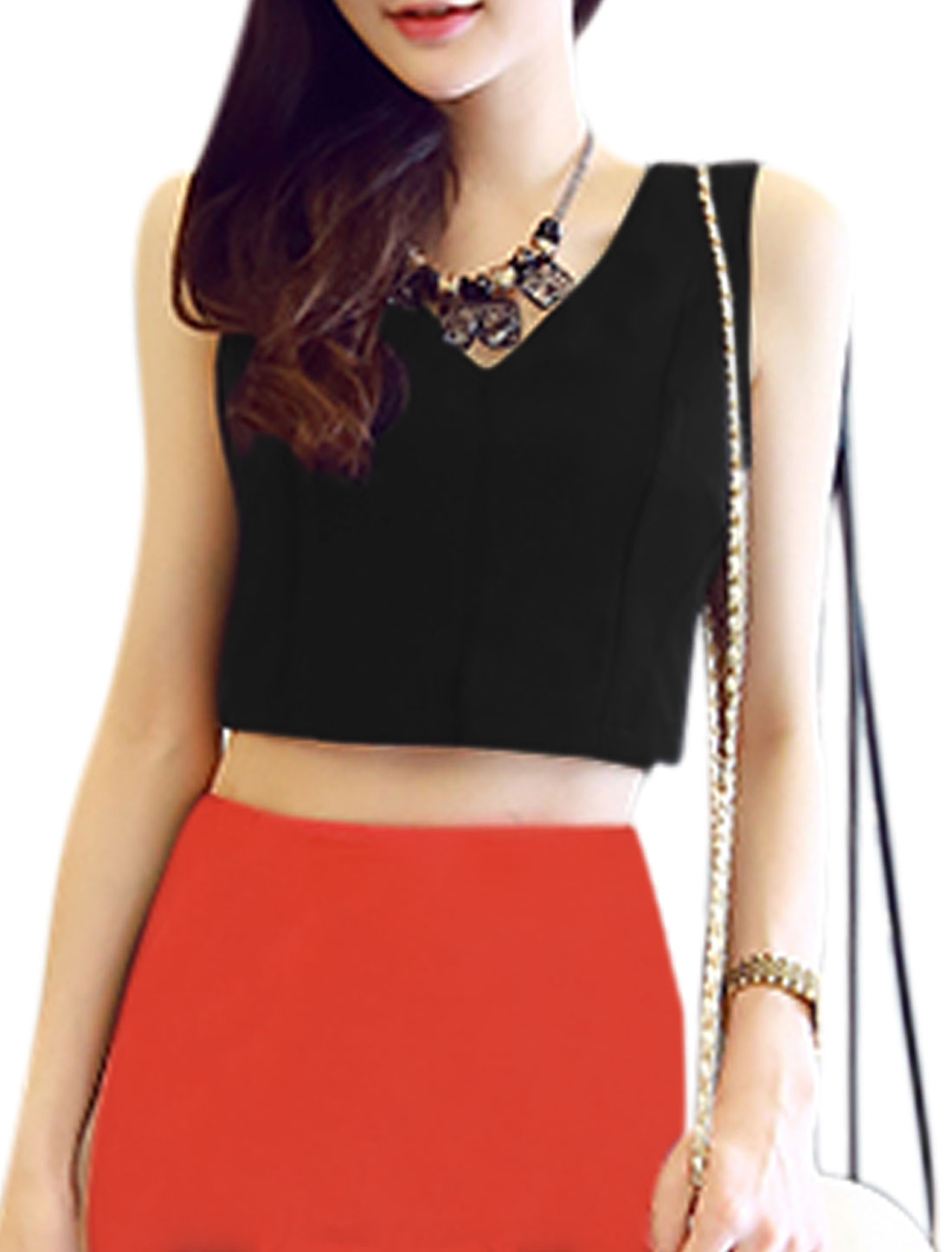 Woman V Neck Sleeveless Exposed Zipper Back Casual Cropped Top Black M