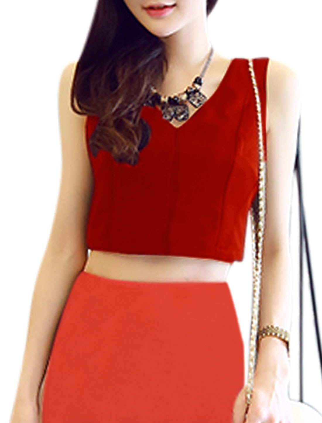 Woman V Neck Sleeveless Exposed Zip Closure Back Casual Crop Top Red M