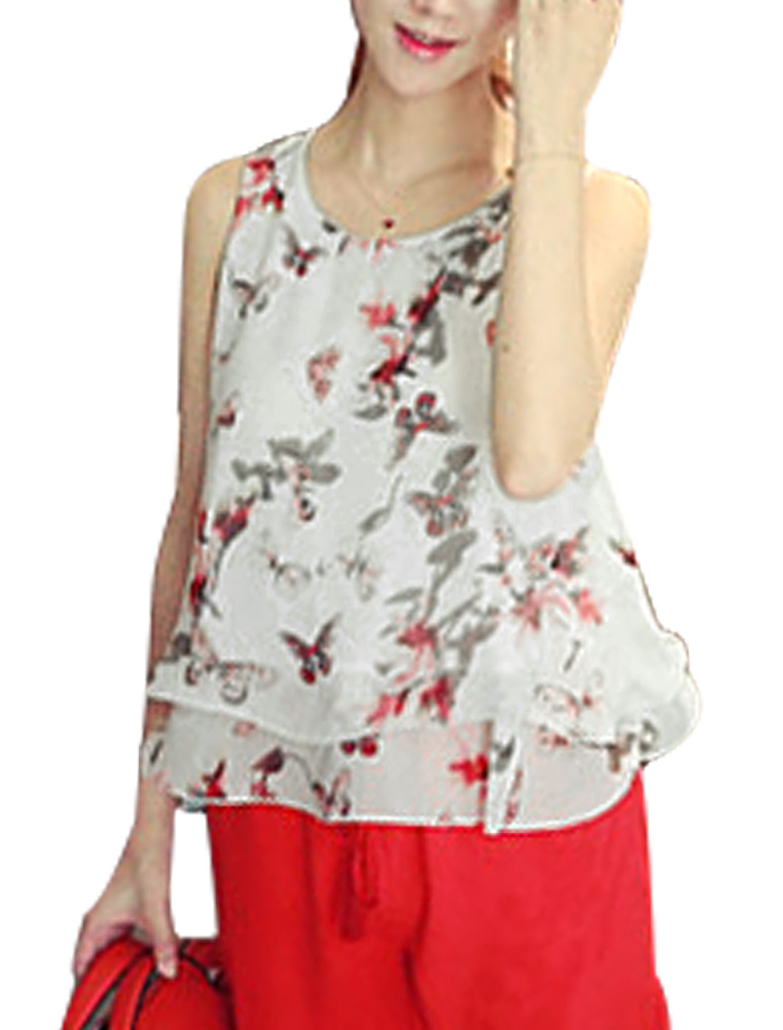 Ladies Sleeveless Round Neck Butterfly Print Casual Top White XS