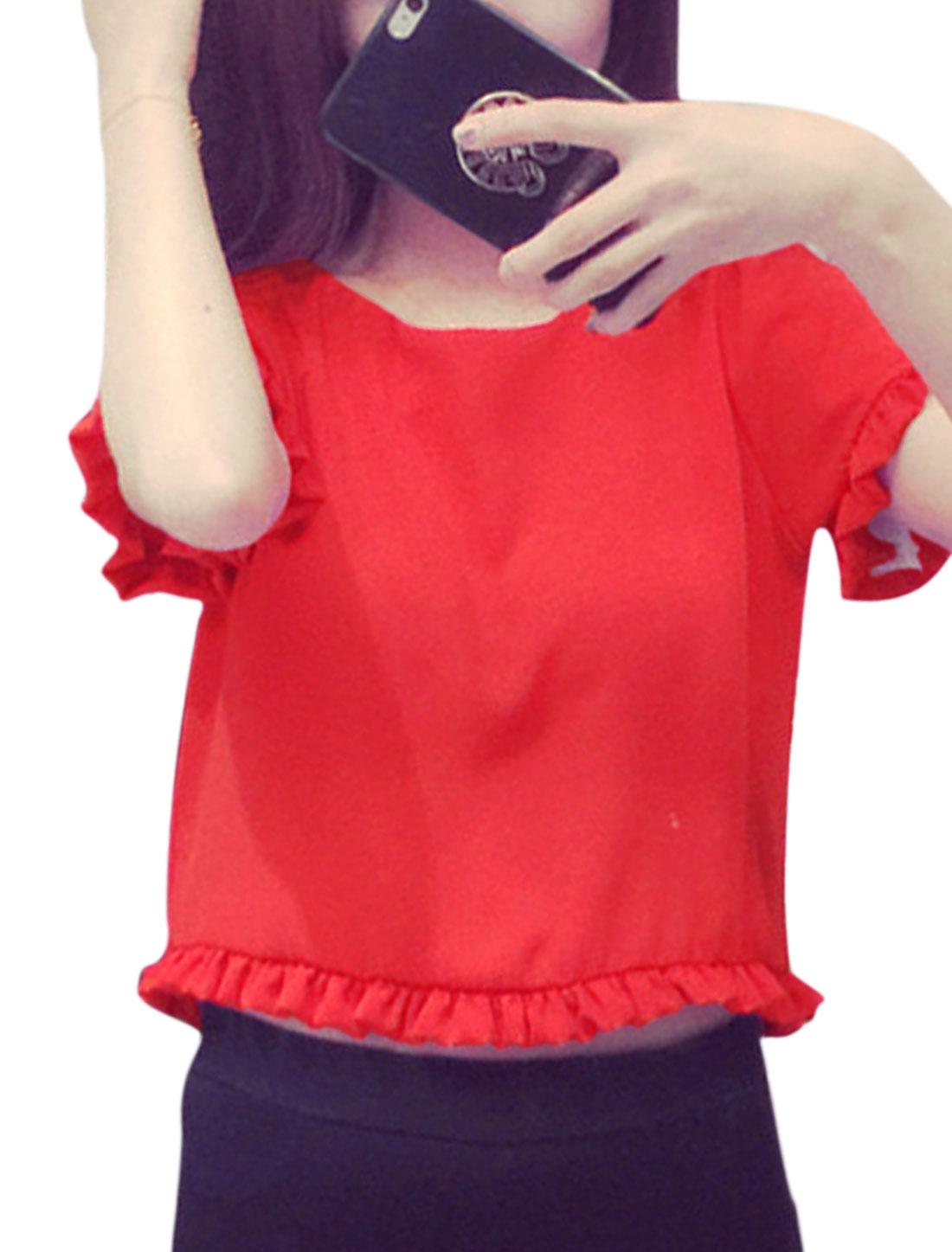 Ladies Short Sleeves Flouncing Trim Keyhole Back Crop Tops Red XS