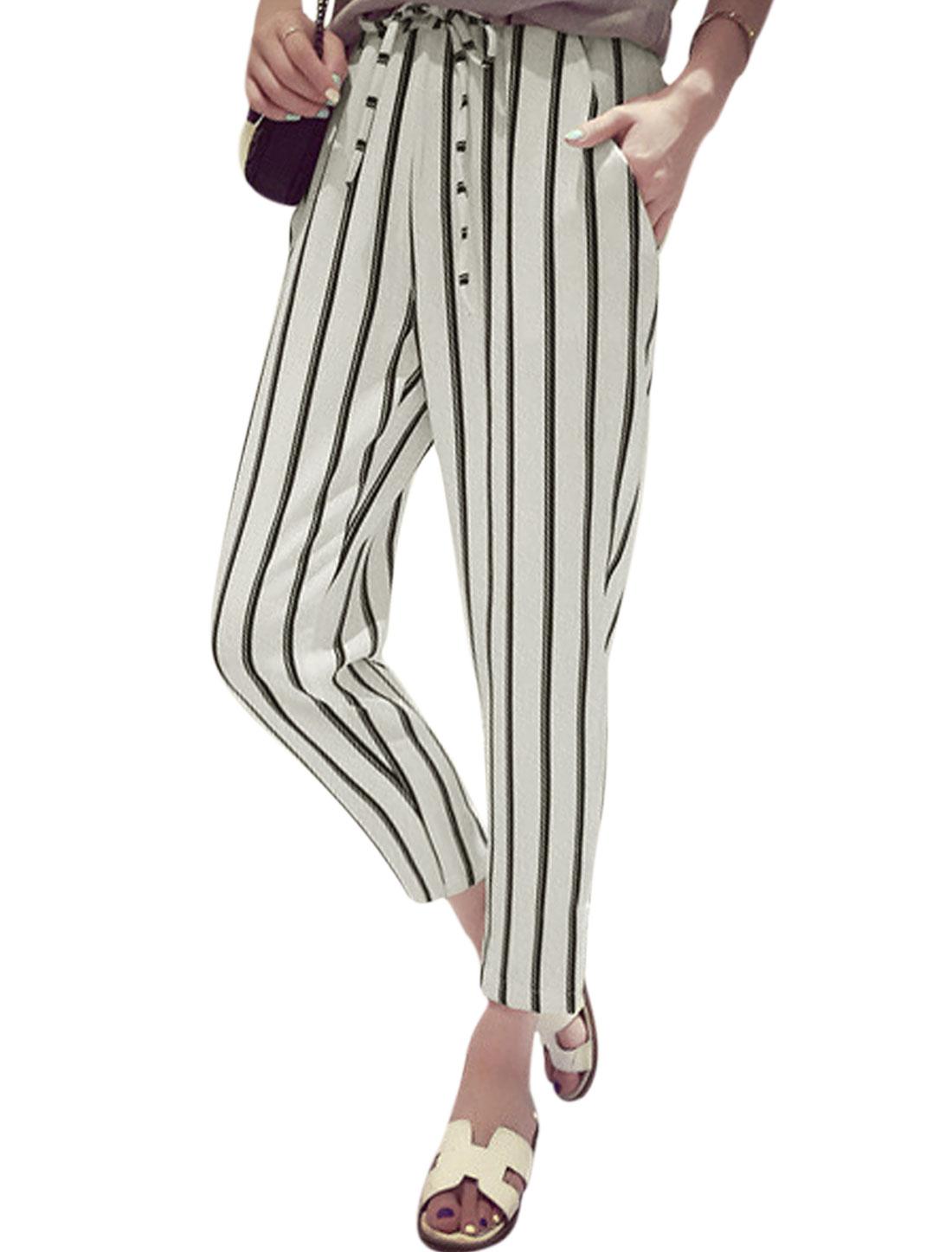 Women Elastic Waist Stripes Two Slant Pockets Cropped Pants White S