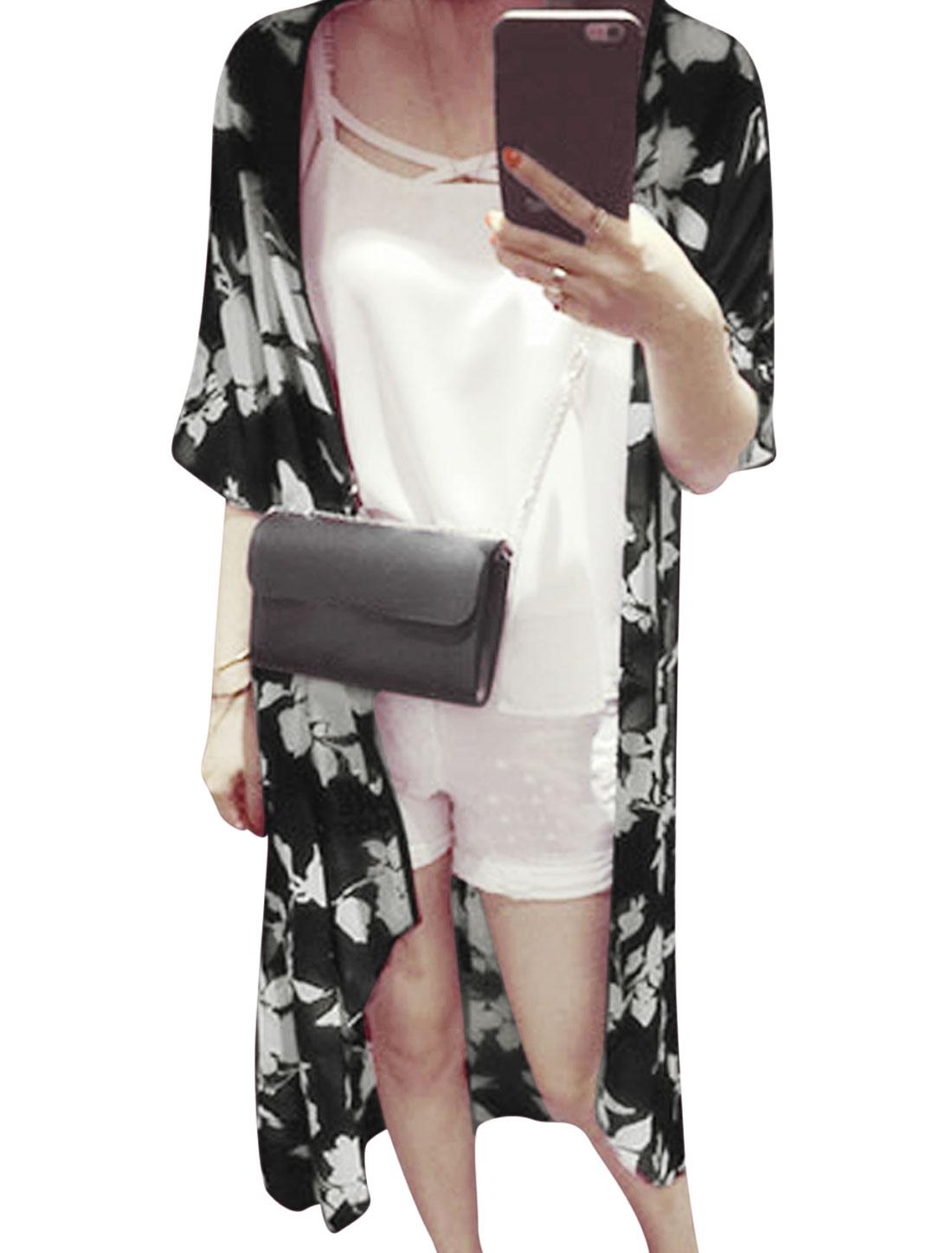 Woman Floral Prints Dropped Shoulder High Low Hem Chiffon Longline Cardigan Black XS