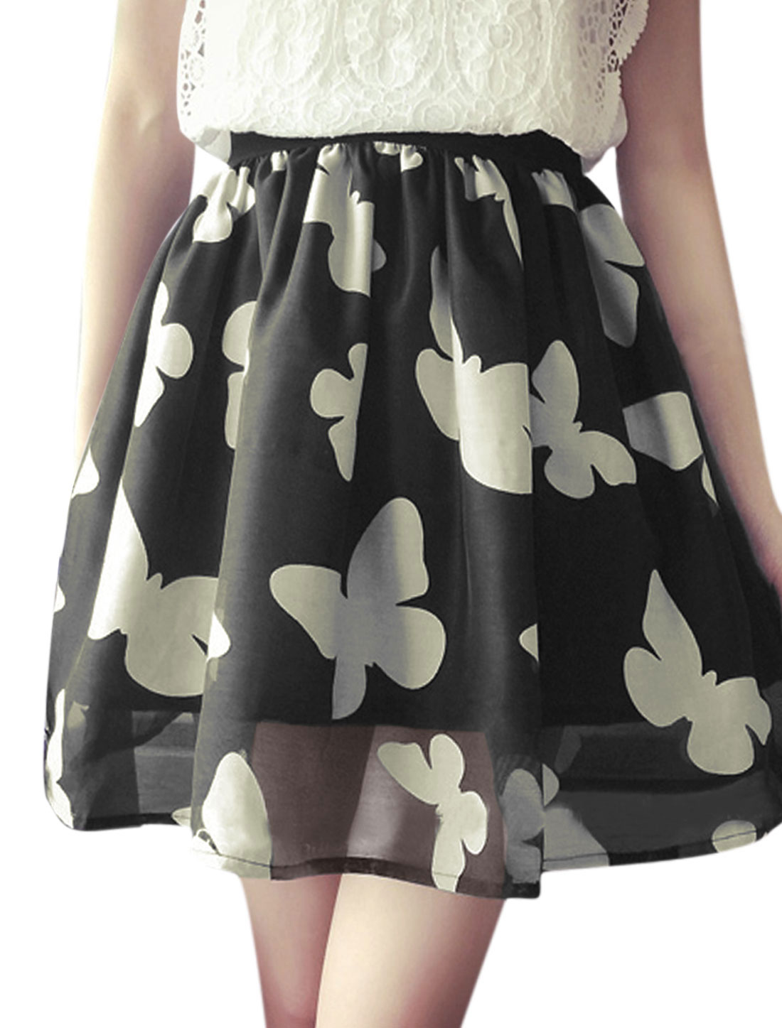 Woman Floral Prints Elastic Waist Band Organza A Line Skirt Black XS