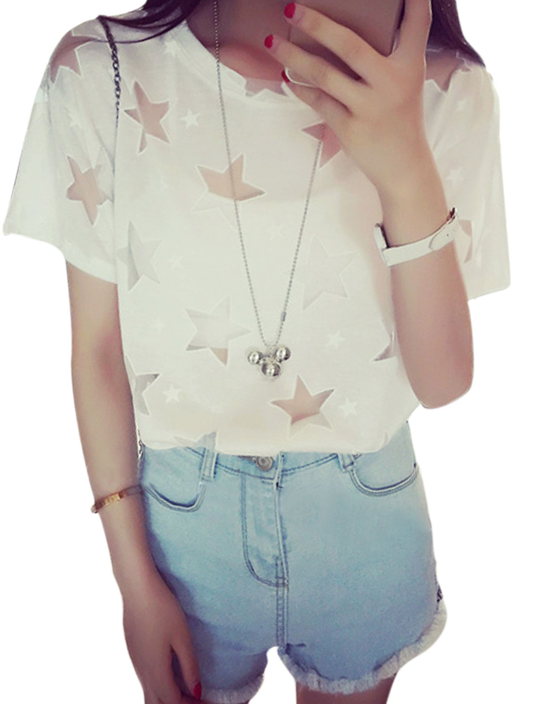 Women Mesh Panel Stars Prints Short Sleeves T-Shirts White XS