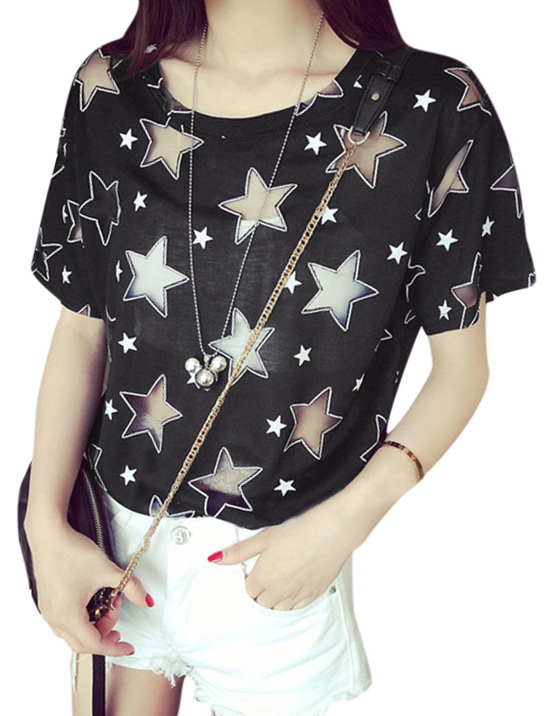 Women Round Neck Stars Prints Mesh Panel Tee Shirts Black XS