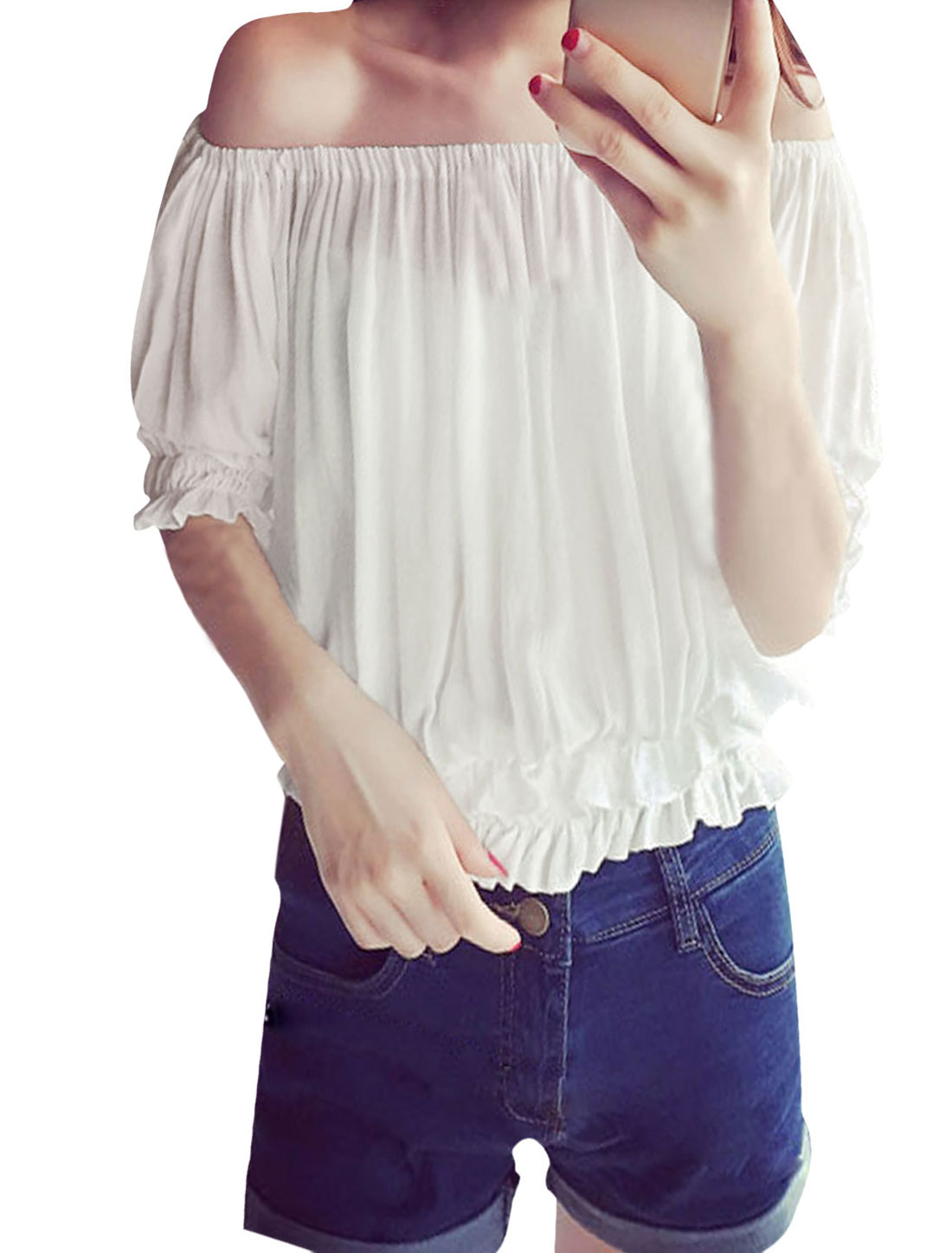 Women Off Shoulder Elbow Sleeves Ruffled Trim Casual Tops White XS