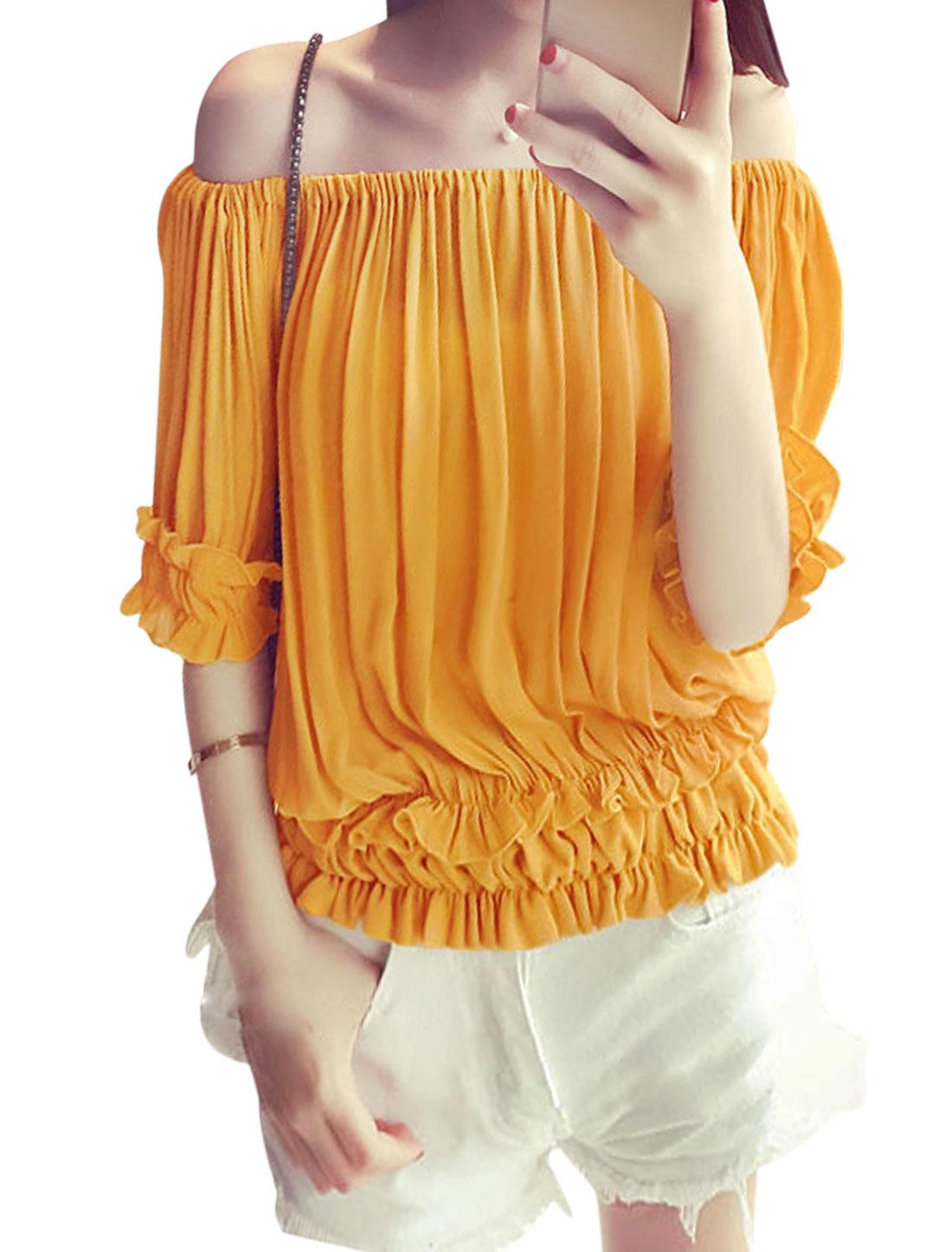 Ladies Off Shoulder Ruffled Trim Casual Shirts Yellow XS