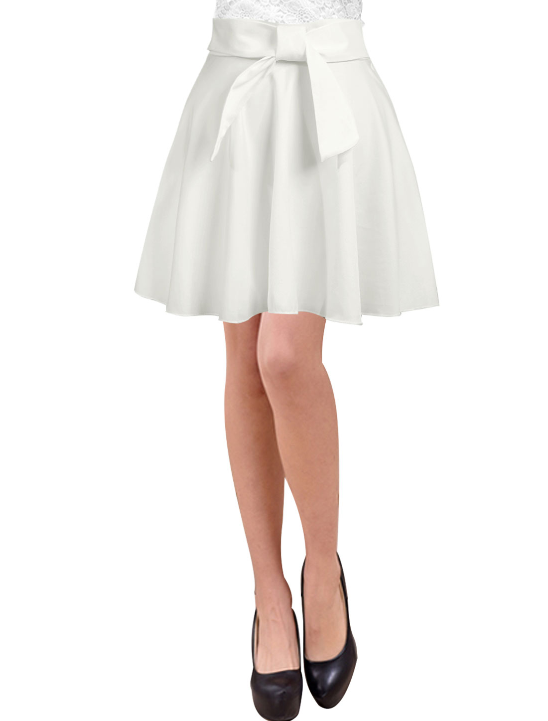 Women Bowknot Decor Natural Waist Casual A Line Skirts White M