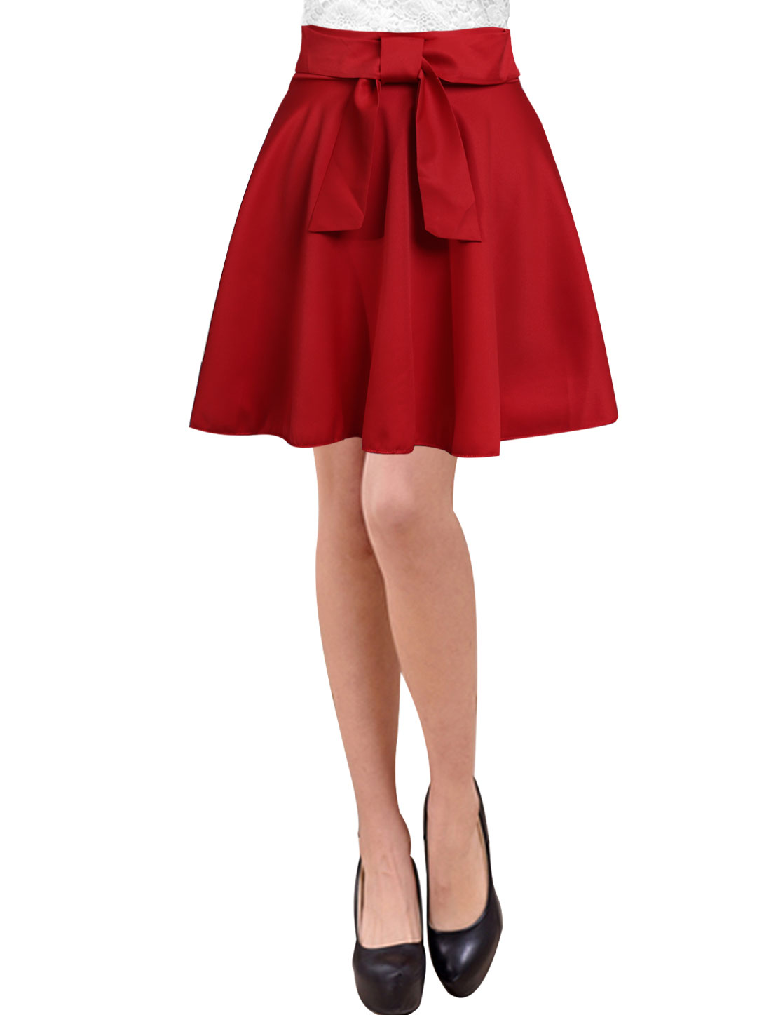 Ladies Bowknot Decor Unlined Hidden Zipper Mini Skirts Red M
