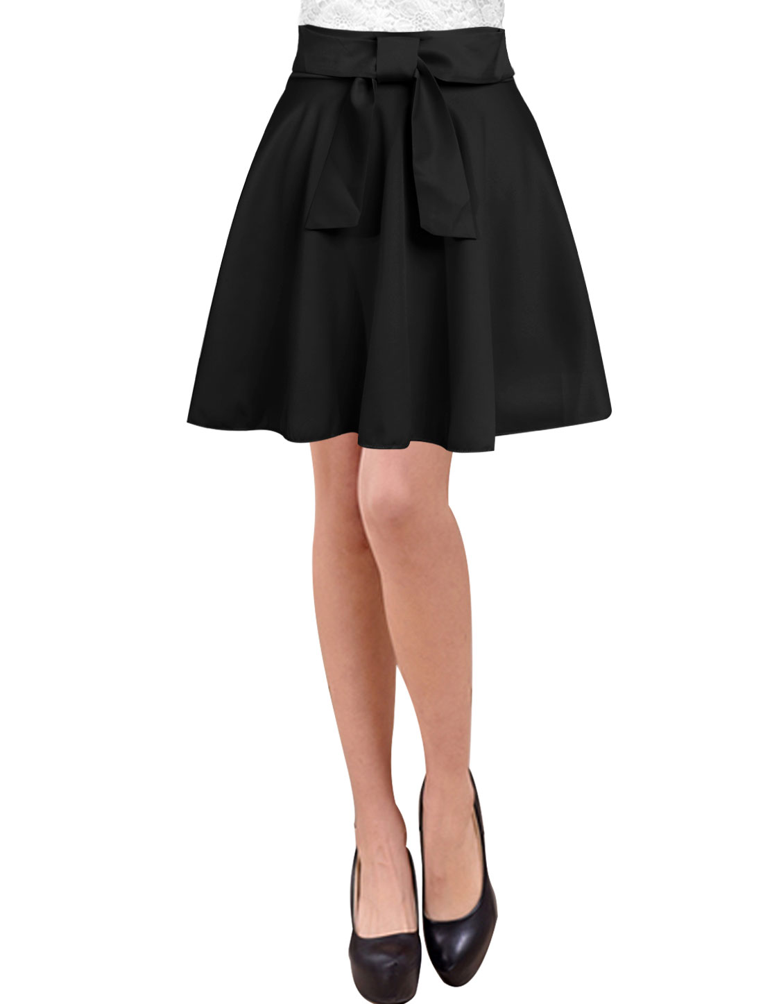 Lady Bowknot Decor Unlined Natural Waist A-Line Skirts Black M