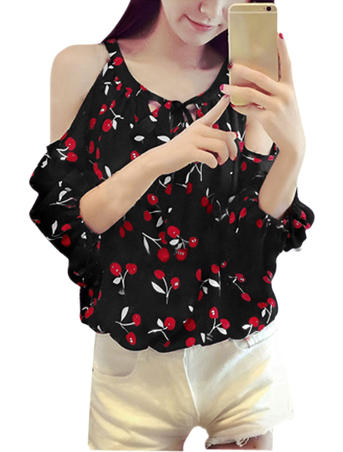 Ladies 3/4 Sleeves Cherry Prints Cut Out Shoulder Casual Tops Black XS