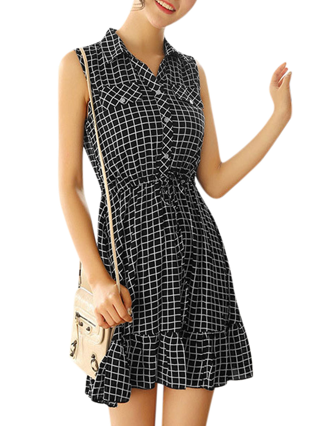 Ladies Sleeveless Checks Drawstring Waist Unlined Shirt Dress Black M