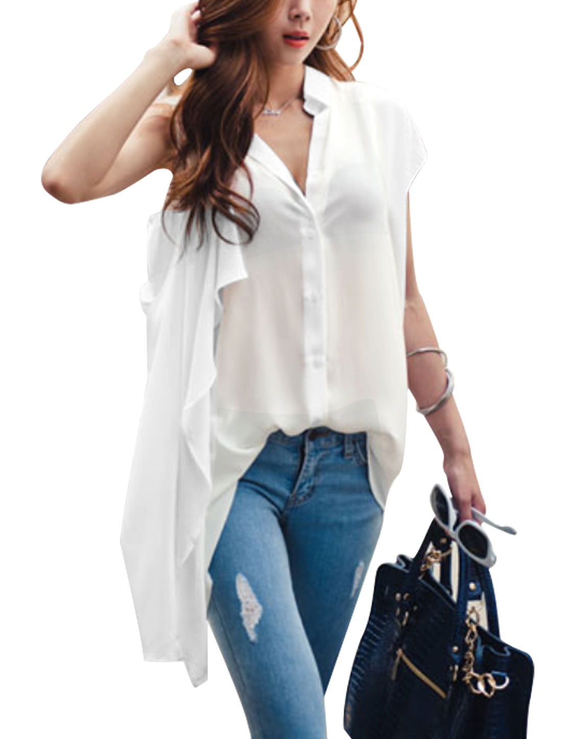 Women Point Collar Overlay Button Down Tunic Shirts White XS