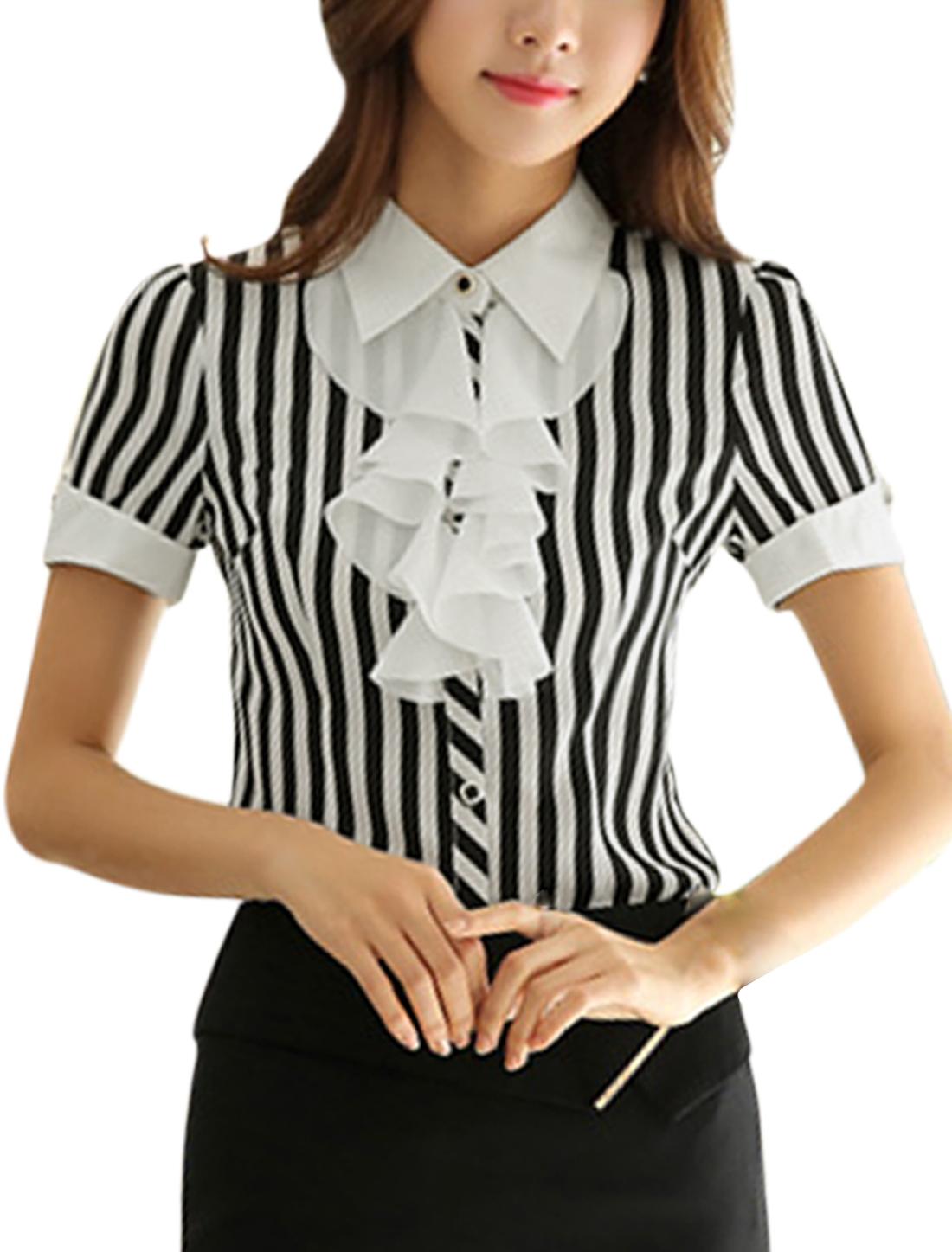 Women Point Collar Stripes Ruffled Upper Cuffed Casual Shirts White Black M