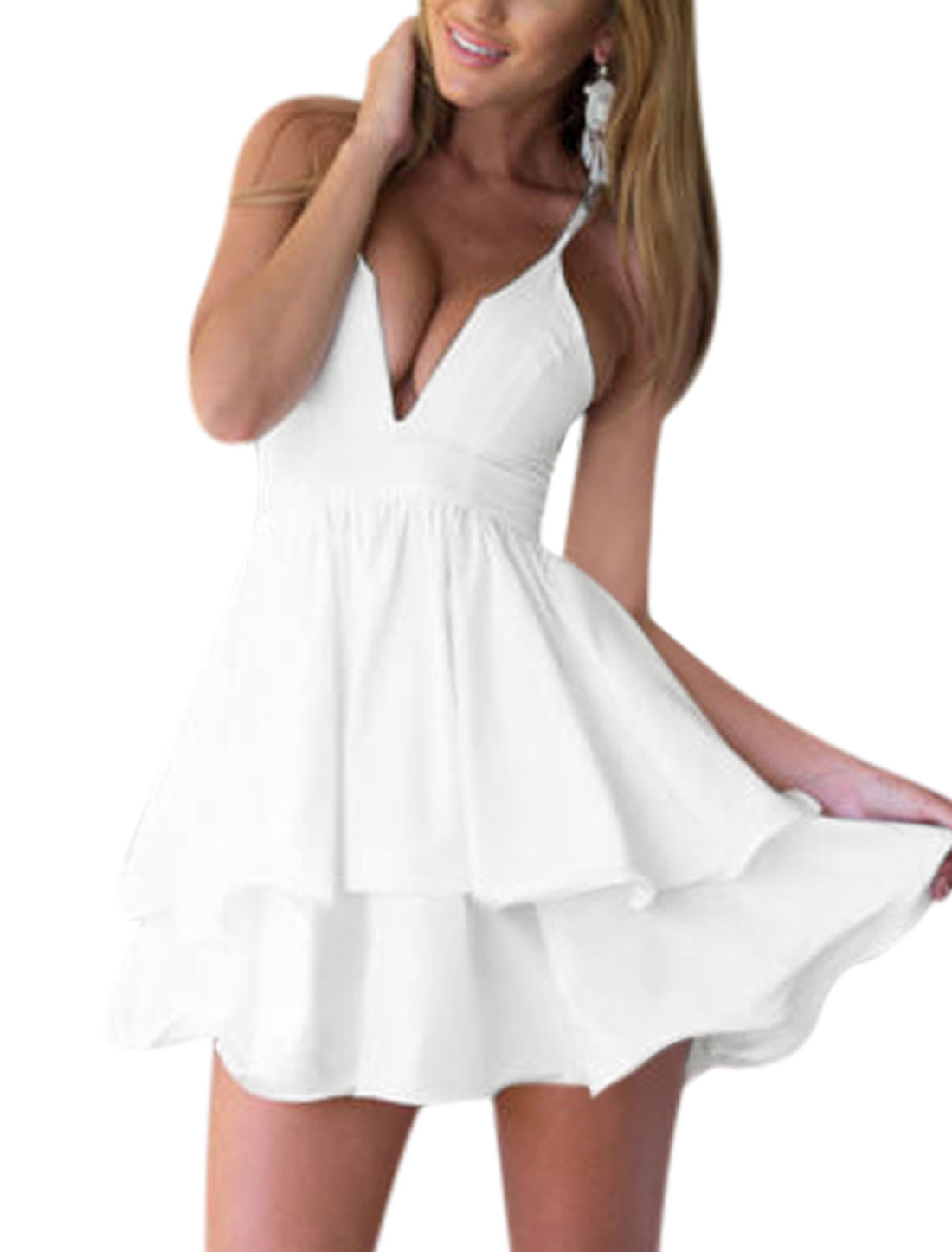 Woman Spaghetti Straps Layered Flouncing Hem Deep V Neck Chiffon Dress White M