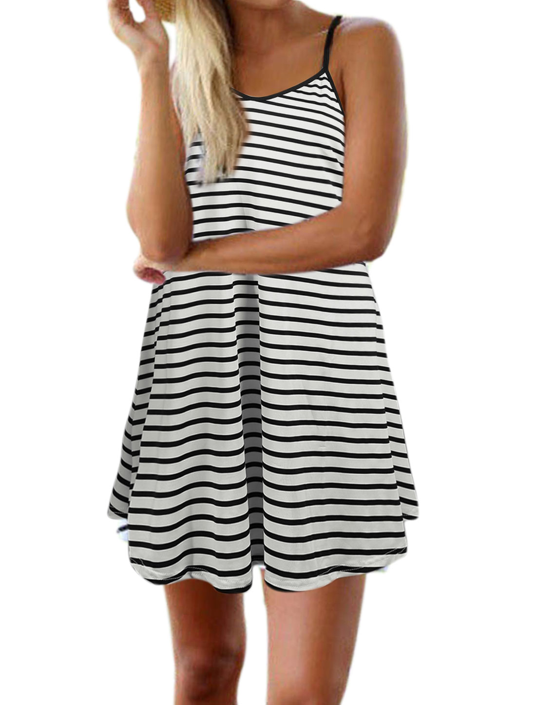 Ladies Spaghetti Strap Stripes Unlined Backless Casual Dress White M