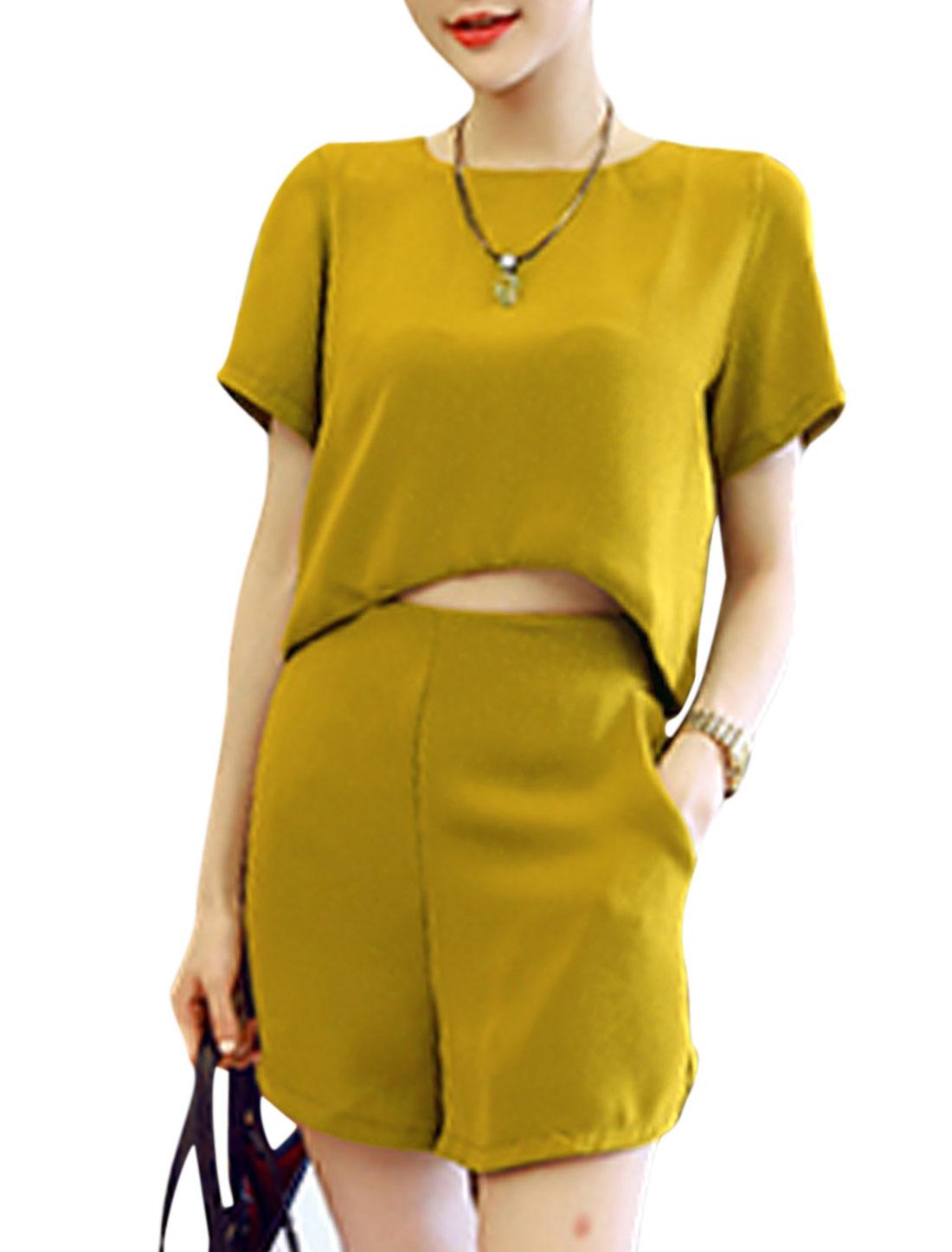 Woman High Low Hem Button Decor Back Top w Slant Pockets Shorts Sets Curry XS