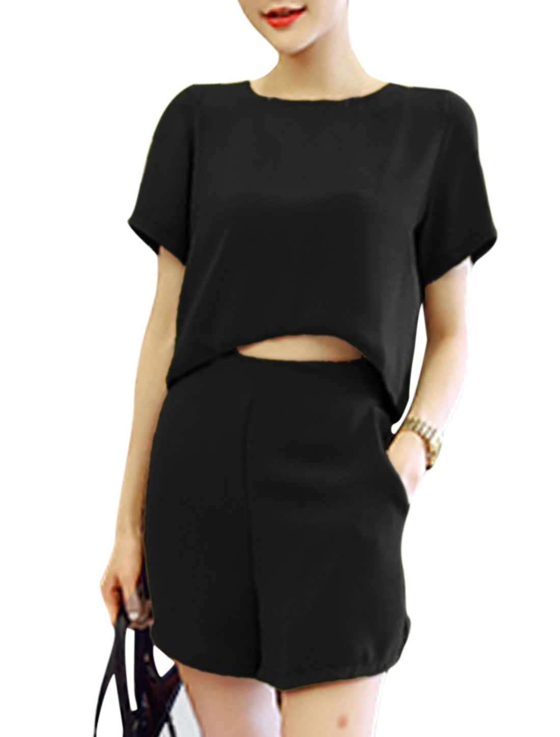 Woman High Low Hem Slipover Top w Slant Pockets Shorts Sets Black XS