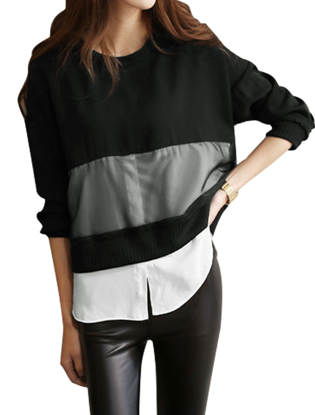 Women Long Batwing Sleeves Organza Panel Color Block Blouse Black XS