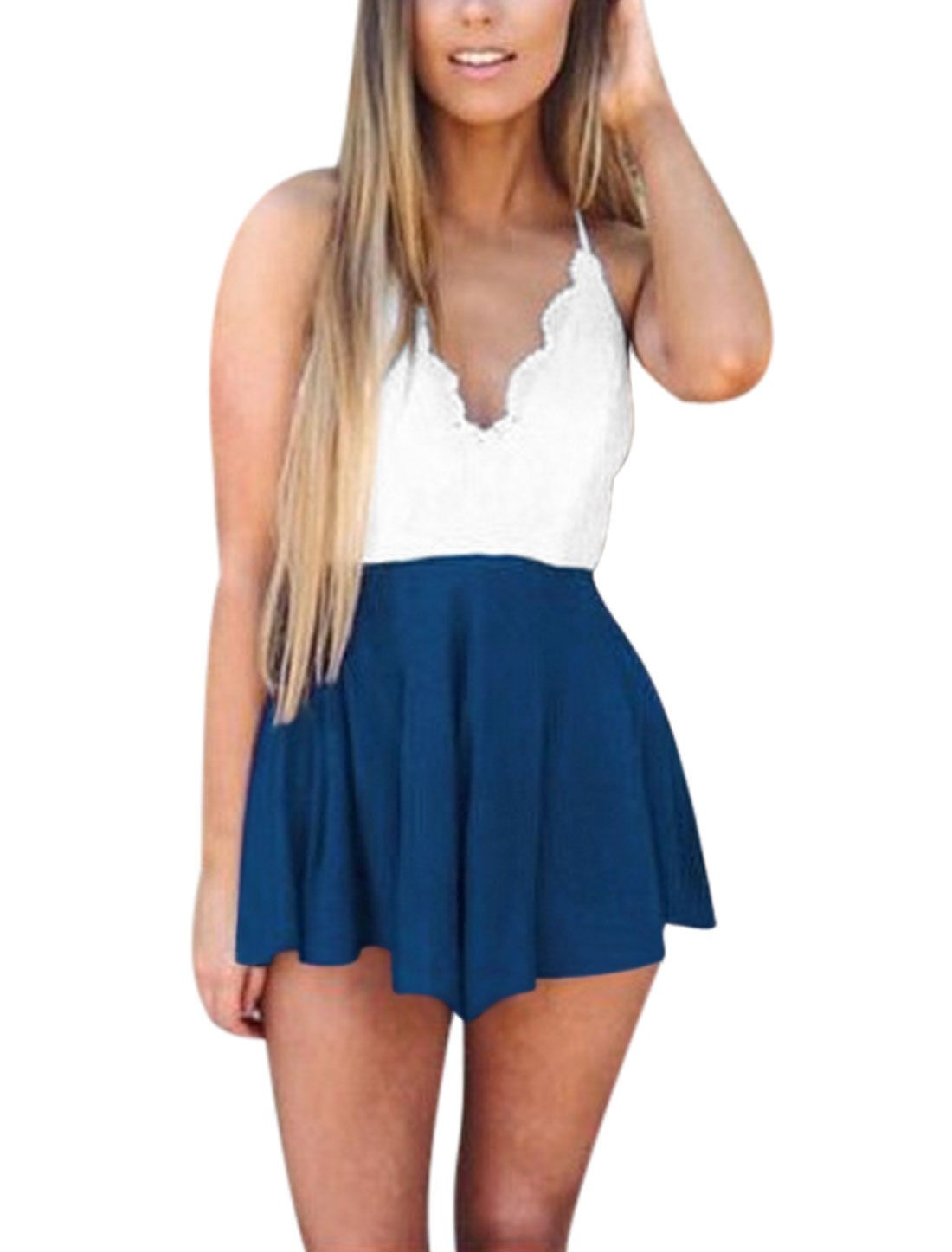 Woman Lace Panel Spaghetti Straps Crossover Strappy Back Rompers White Blue M