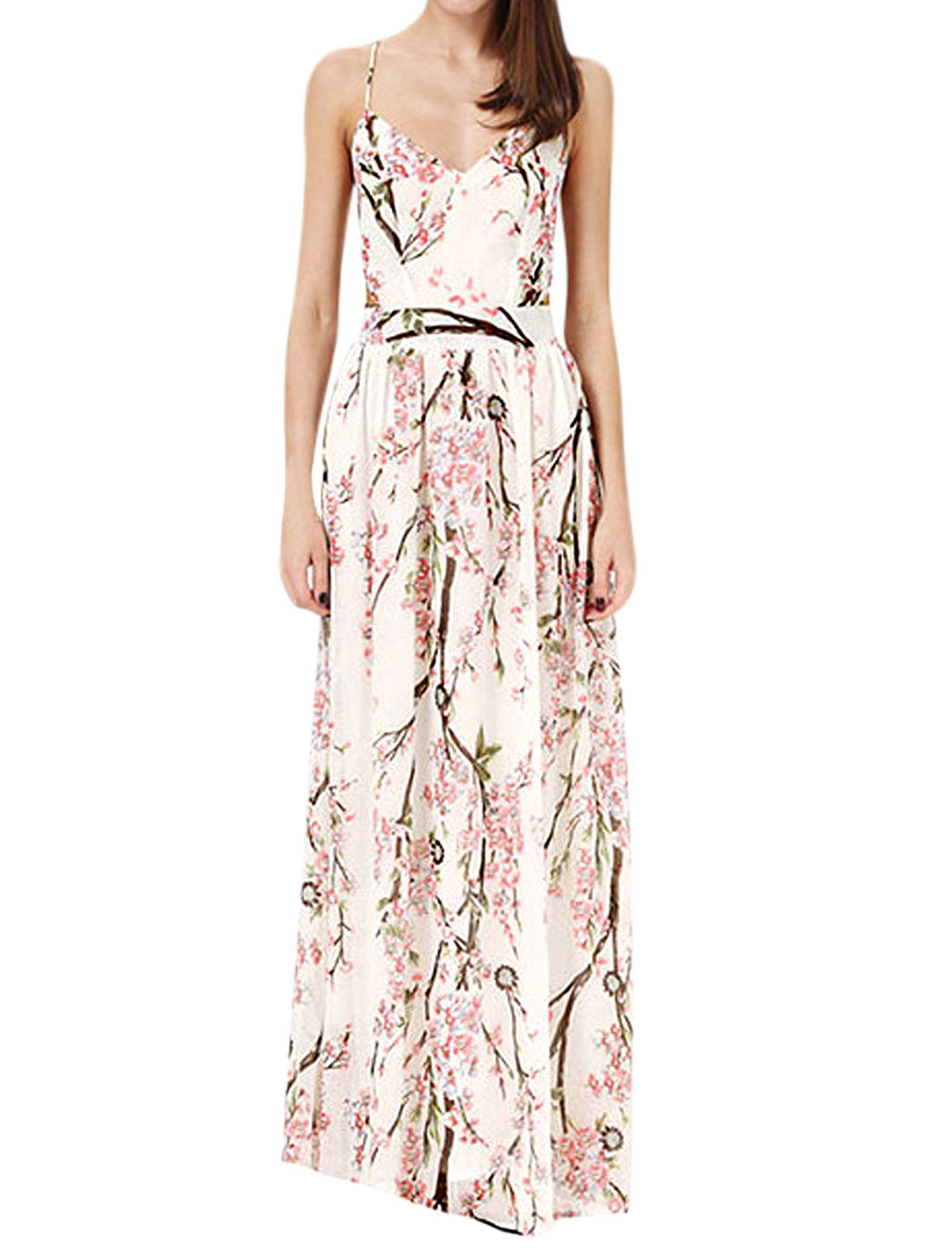 Ladies Floral Print Fully Lined Casual Maxi Dress White Pink L