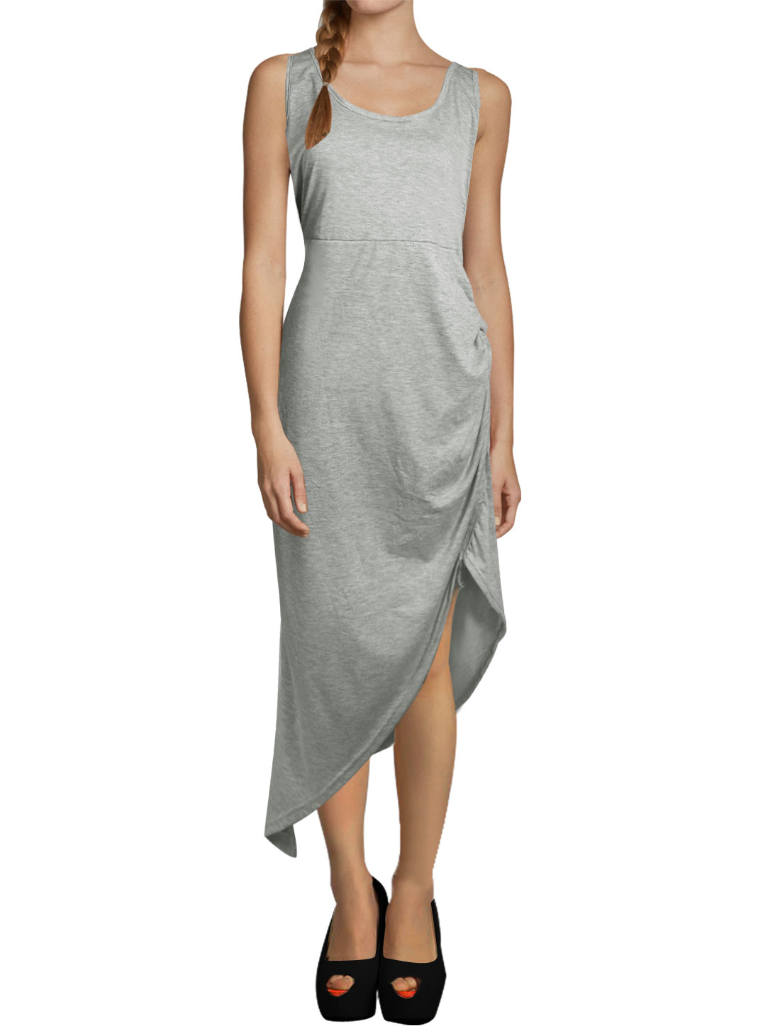 Women Scoop Neck Sleeveless Backless Asymmetric Hem Sheath Dress Light Gray L