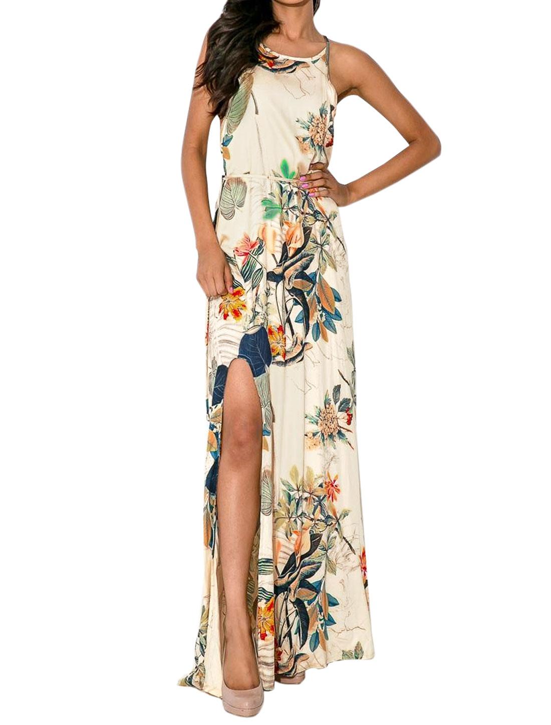 Ladies Floral Print Unlined Split Side Casual Maxi Dress Beige M