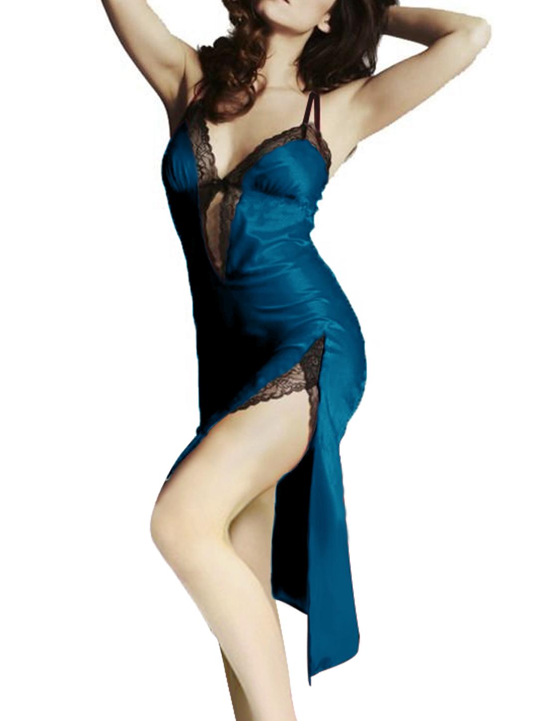 Women Deep V Neck Split Side Unlined Club Dress Dark Blue L