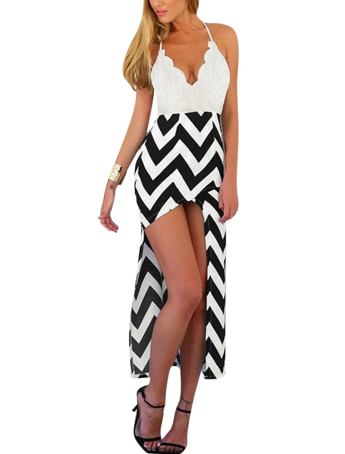 Women Open Back Deep V Neck Zig Zag Irregular Hem Dresses White Black XL